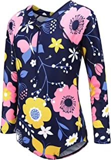 Girls Long Sleeve Rash Guard One Piece Swimsuits Zipper Front Bathing Suit Sun Protection
