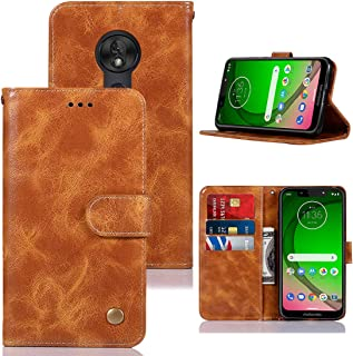 Moto G7 Play Case 2019, Zoeirc PU Leather Wallet Flip Protective Phone Case Cover with Card Slots and Stand for Motorola Moto G7 Play 5.7'' (Khaki)