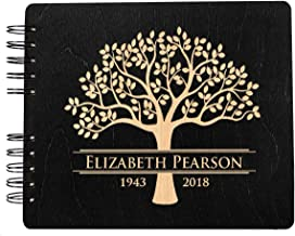 Funeral Guest Book Personalized Wooden Memorial Guestbook 8.5x7