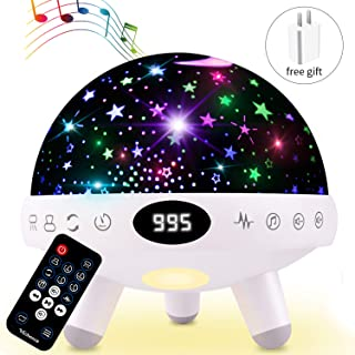 Night Light for Kids Star Projector with Music White Noise Sound Machine Baby Sleep Soother Nursery Bedside Lamp 9 Natural Sounds 20 Lullabies Remote Control Adapter Timer