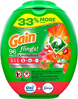 Gain flings! Liquid Laundry Detergent Pacs, Tropical Sunrise, 96 Count