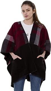 BYOS Women's Winter Stylish Over-sized Plaid Soft Fleece Poncho Blanket Wrap