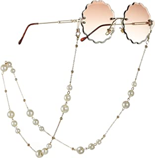 VanStar Pearl Glass Beaded Glasses Chain Cord Eyewear Chain Decorative Eyeglasses Sunglasses Glasses Strap Keeper Lanyard Holder Necklace for Women Men with Silicone Anti-slip Ring