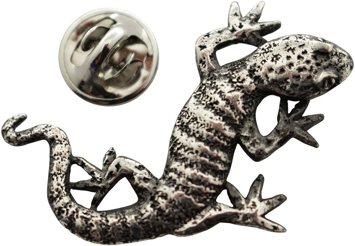 Sarah's Treats & Treasures Gecko Pin ~ Antiqued Pewter ~ Lapel Pin