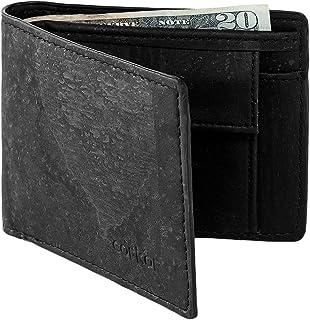 Corkor Vegan RFID Wallet With Coin Pocket Men Bifold Card Holder No-Leather Cork Black Color