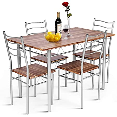 Shallow Walnut Giantex Modern 5 Piece Dining Table Set for 4 Chairs Wood Metal Kitchen Breakfast Furniture