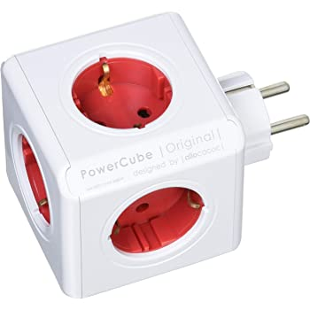 PowerCube Original - Regleta de 5 tomas de corriente, Color Rojo