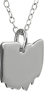 FashionJunkie4Life Sterling Silver Ohio State Charm Necklace, 18 Inch