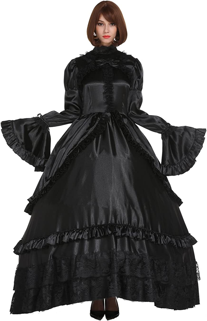 GOceBaby Lockable Gothic Lolita Punk Long Beach Mall Black Dress Finally resale start Crossdres Satin