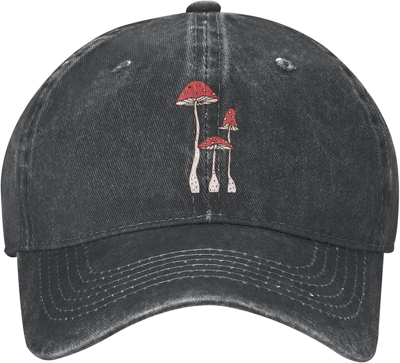 KOUSHANAIER Cartoon Mushrooms Unisex Cowboy Hat Baseball Caps Adjustable Outdoor Sports Golf Denim Cap Black