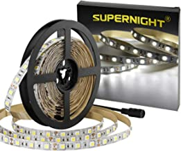 SUPERNIGHT LED Light Strip White, 6000K Daylight White Lights 16.4 Ft 300leds 60leds/m 5050 SMD Flexible Non-Waterproof Tape for Boats, Bathroom, Mirror, Ceiling