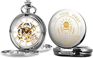 ManChDa Engraved Boy's First Holy Communion Pocket Watch Gift with Presentation Box, Mechanical Pocket Watches with Chain ...