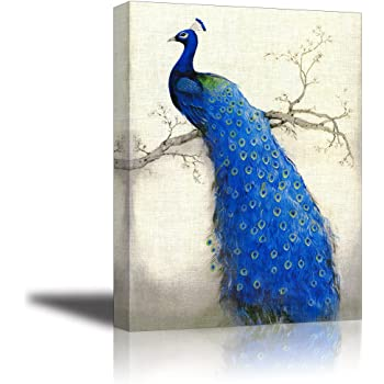 Lovely Peacock Design Treble Canvas Print Large Picture Wall Print
