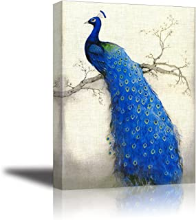Peacock Wall Art Decor for Bedroom, PIY HD Beautiful Oil Painting Canvas Prints of Elegant Proud Peacock on Beige Pictures (1