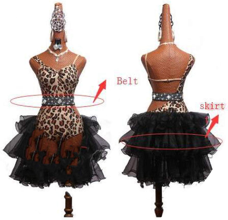 Latin Dance Dress Women Competition Sexy Leopard Female Plus Black Skirt Plus Rhinestone Belt Set