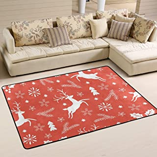 CENHOME Area Rugs Running Reindeer Wicker Snowflake Floor Mat Indoor/Outdoor Non Slip Red Rugs Home Entryway Carpet Doormat