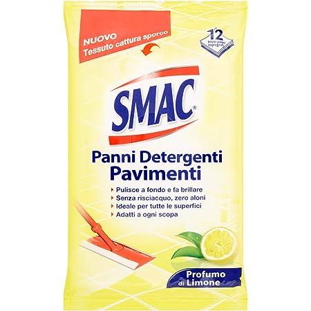 Smac - Panni Umidi Detergenti Lavapavimenti Adatti a Ogni Scopa, Profumo di Limone, 12 Panni