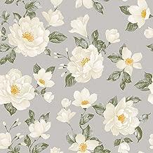 Papel de Parede Floral Bobinex Uau Branco/Cinza