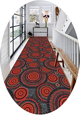 W/z/z Traditional 3D Circular Pattern Runner Rug,Anti-Skid Washable Hallway/Hotel/Bedroom/Living Room/Wedding/Kitchen Long Runner Rugs ,Red (Size : 0.8x10m)