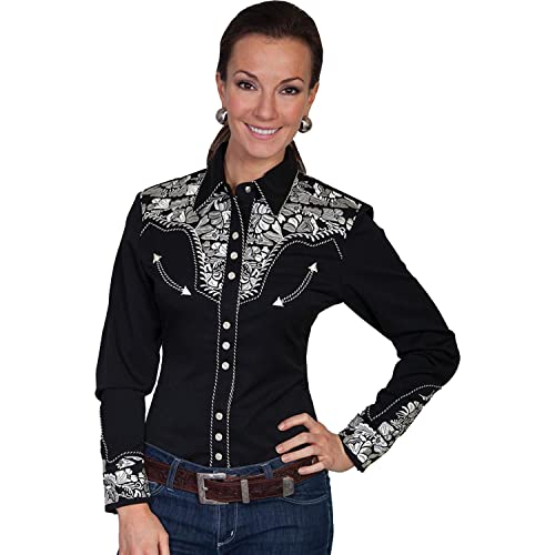 cbebadeec315 Scully Women's Silver Western Embroidered Shirt - Pl654-Slv