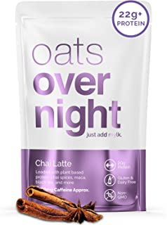 Oats Overnight - Chai Latte (8 Pack) Dairy Free, High Protein, Low Sugar Breakfast with Black Tea - Gluten Free, High Fibe...