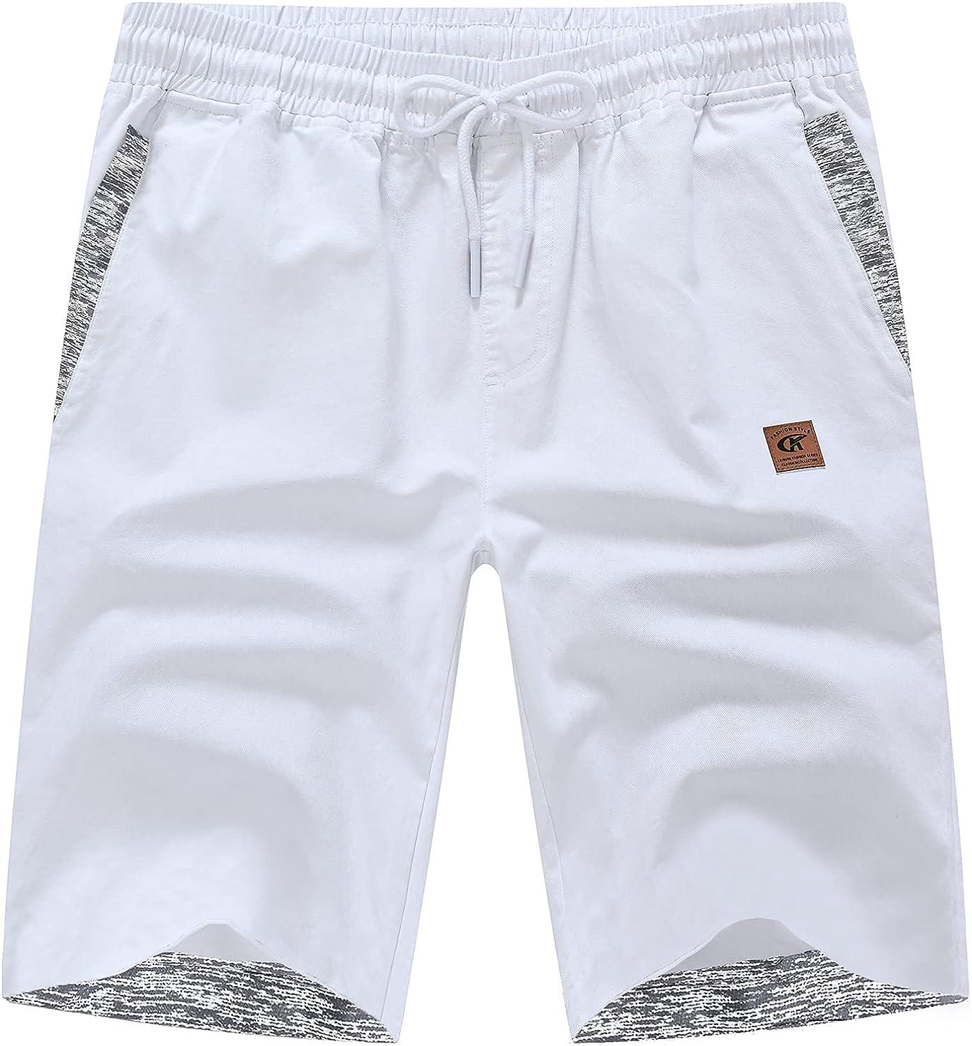 Satankud Men's Casual Drawstring Slim Elastic Waist Cotton Shorts