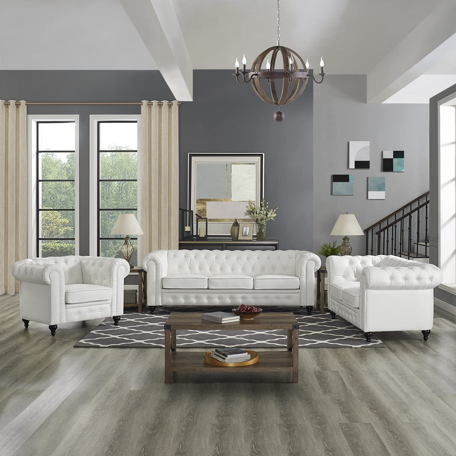 Naomi Home 3 Piece Super beauty product restock quality top! Emery Chesterfield Rolled Arms with Set Rapid rise Sofa