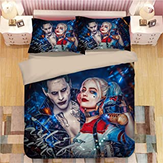 Paixide 3D Suicide Squad Joker with Harley Quinn Duvet Cover 100% Microfiber 3 Piece Bedding Set for Teen Kids Adult, King