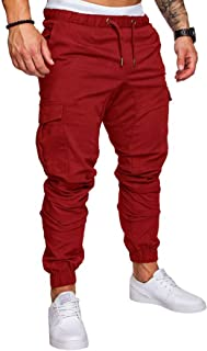 Elonglin Men's Cargo Trousers Slim Fit Skinny Jogging Pants Elasticated Waist Drawstring Chino Pants Tracksuit Bottoms
