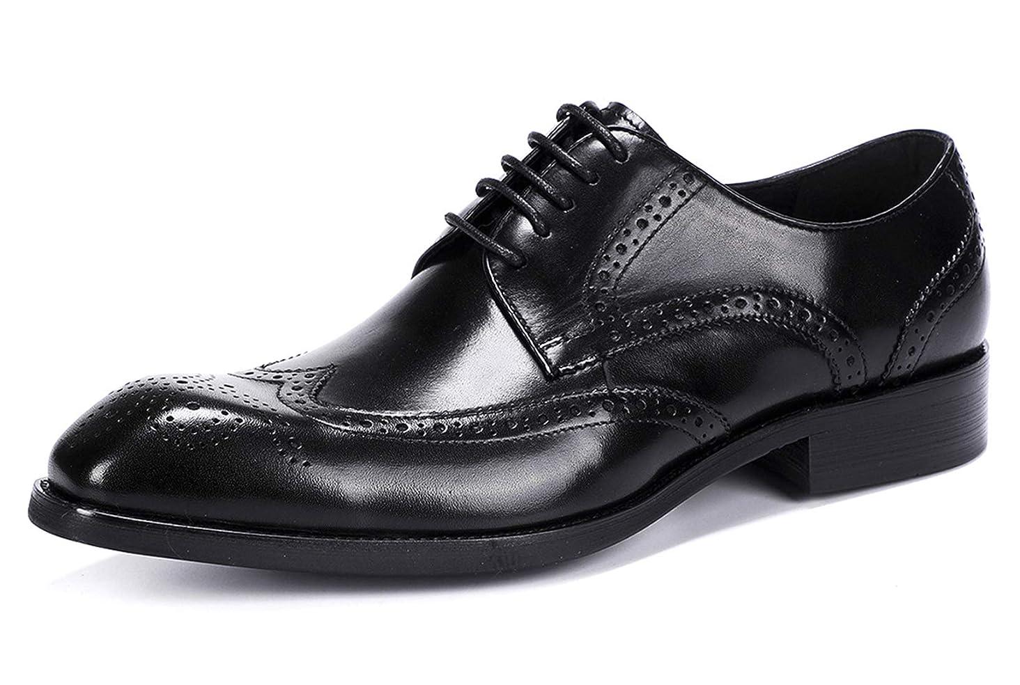 Wingtip Lace-Up Oxford Shoes for Men - Mens Leather Dress Shoes,Brogue Formal Shoes,Derbies Shoes