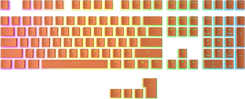 HK Gaming Doubleshot PBT Pudding Keycaps - 108 Keys, Orange