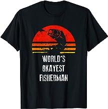 Retro Fishing Shirt Worlds Okayest Fisherman Vintage Gift