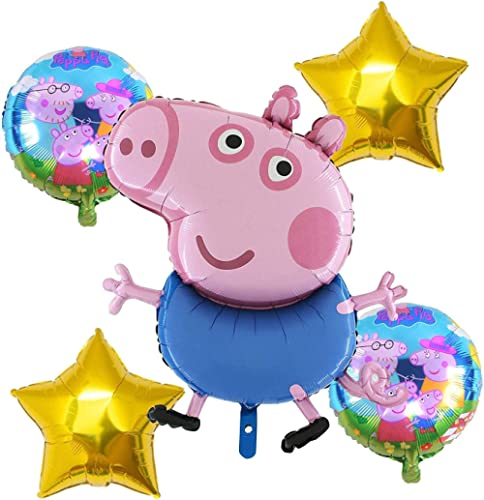 GRAND SHOP 50853 Peppa Pig Theme Birthday / Baby Shower / Birthday Party Decoration Balloons Set of 5