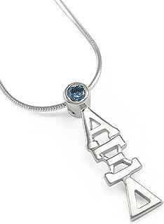Sterling Silver Alpha Xi Delta Lavaliere Pendant with Brilliant Deep Blue Cubic Zirconia (CZ)