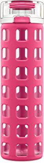 Ello Syndicate Glass Water Bottle with One-Touch Flip Lid, Pink ,20-ounce