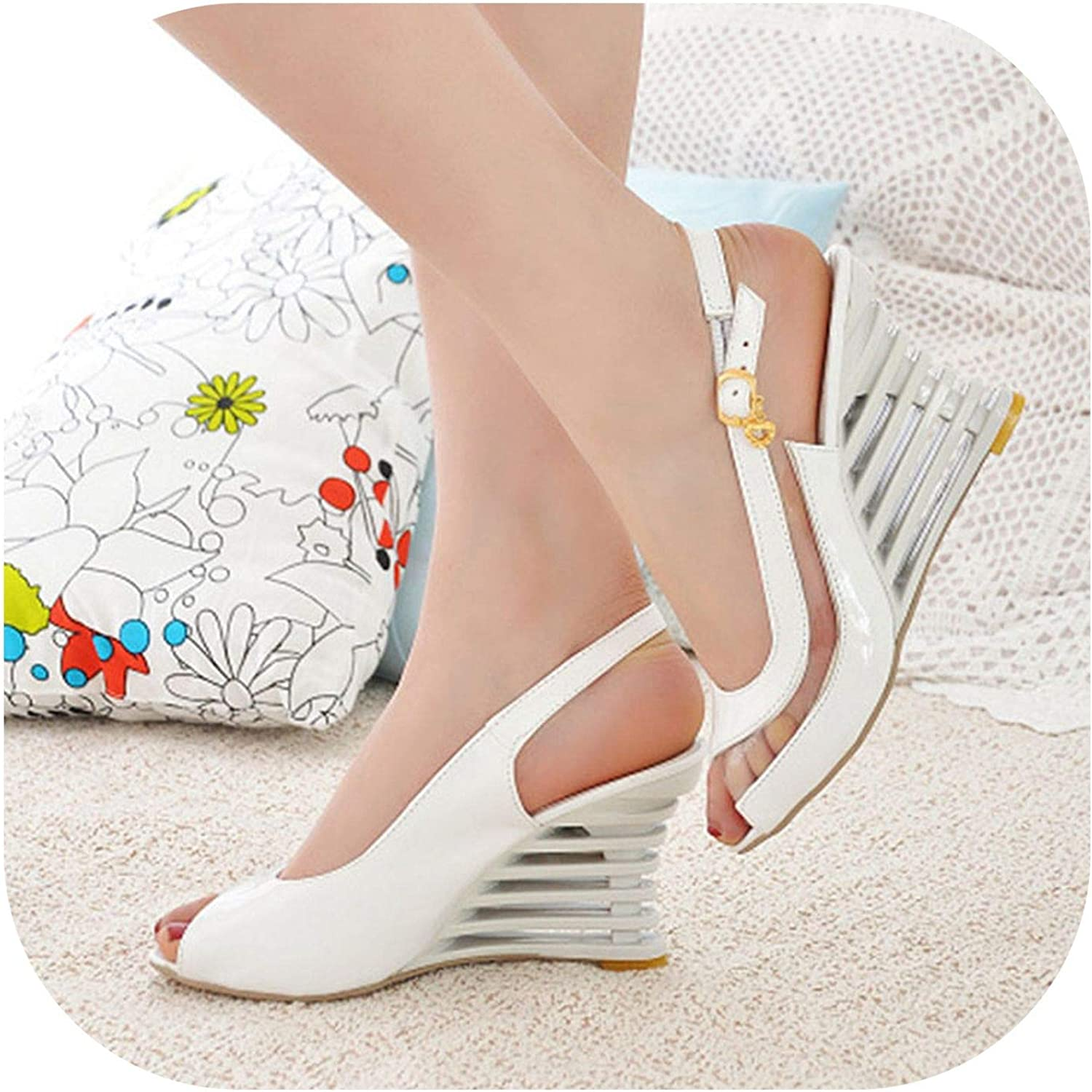 2019 New Women Heel Sandals Buckle Open Toe High Wedge shoes Women's Summer shoes Sexy Women shoes Footwear Size 34-43