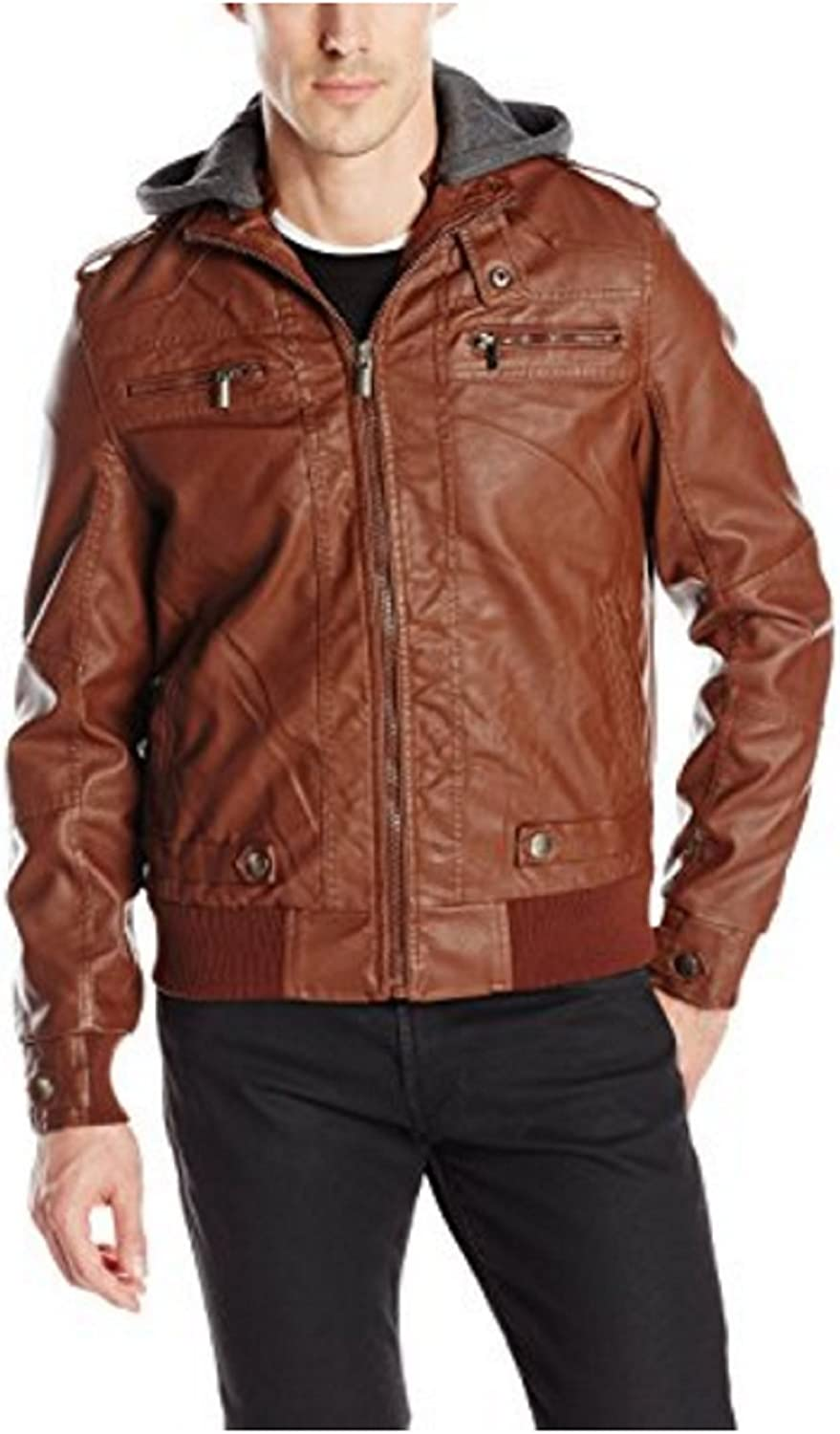 X-Ray Men's Faux Leather Jacket with Removable Hoodie and Rib Waist Band-Small Burgandy