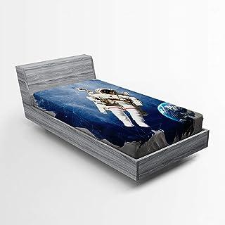 ABAKUHAUS Galaxie Drap-Housse, Numérique Planète Terre, Pochette Élastique Tout Confort pour Literie en Tissu Décoratif, 9...