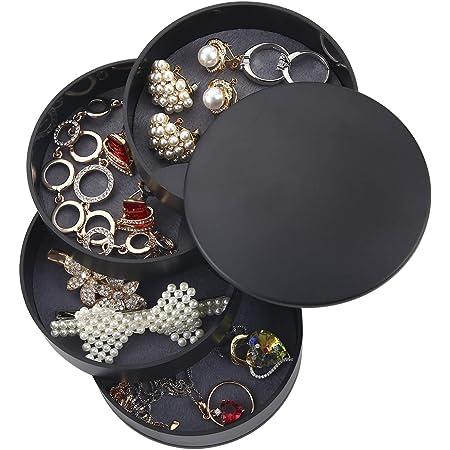 Ulikey Forma Rotonda Portagioielli, Jewellery Organizer Scatole Portagioie con 4 Strati, Piccolo Portagioie da Viaggio Scatola per Anelli Orecchini Collana