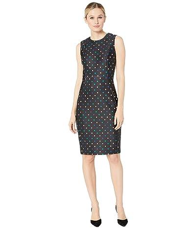 Calvin Klein Polka Dot Sheath Dress (Black/Lagoon Multi) Women