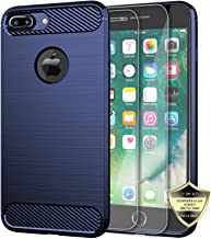 Androgate iPhone 7 Plus Case, Slim Soft Flexible TPU Bumper Case with 2PCs Tempered Glass Screen Protectors for Apple iPhone 7+, Blue