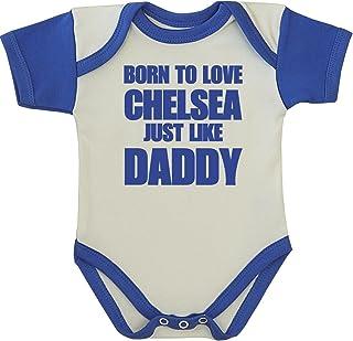 "Babyprem Baby Body Strampler ""Born to Love Chelsea Like Daddy"" Kleidung 50-80cm"