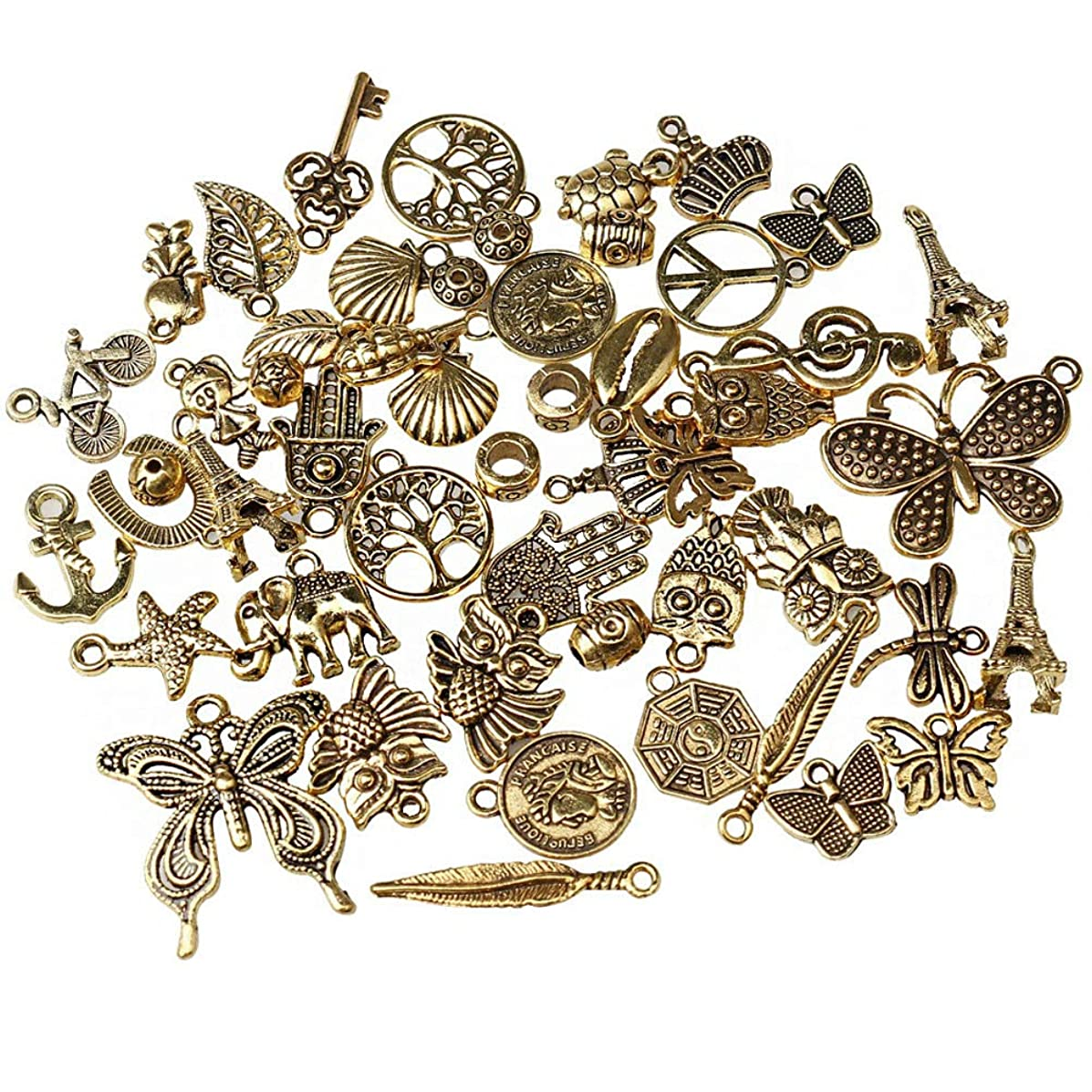 Jewelry Charms, EUBags 50 PCS Antique Gold Assorted Mixed Charms Pendants DIY for Necklace Bracelet Jewelry Making and Crafting