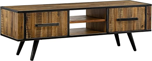 TV & Media Furniture ✅Cusco LCCUTVAC Rustic Acacia Media TV Console Stand, 59″ Wide, Antique