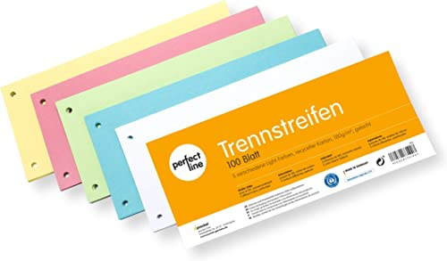 perfect line 100 tiras separadoras de papel, separadores de registros en 5 colores, 160g/m², organización perfecta de...