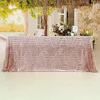 B-COOL Rose Gold Sequin Tablecloth 90x156inch Geometric Sequin Cake Tablecloth Art Deco Sequin Table Linens Geometric Wedding Decor RECTANGULAR