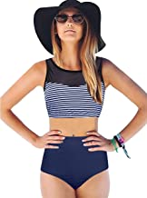 GEEK LIGHTING Women's High-Wasited Bottoms with Racerback Mesh Tankini Sets Two Piece Swimsuit