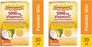 Alacer Emergen-C Dietary Supplement Drink Mix with 1000mg Vitamin C, 0.32 Ounce Packets, Caffeine Free (Coconut/Pineapple,...