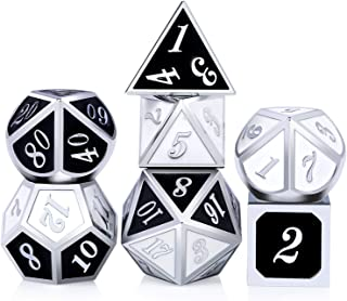 Double Colors Metal Dice Set D&D,DNDND Zinc Alloy Polyhedral Dice with Metal Tin for Dungeons and Dragons DND Roleplay Game and Table Games(Silver Number with Black and White Color)