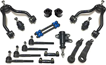 PartsW 17 Pc New Suspension Kit for Cadillac Chevrolet GMC/Adjusting Sleeves, Front Sway Bar Frame Bushings 31.75mm (1.25 inch), Control Arms, Tie Rod Ends, Ball Joints, Idler & Pitman Arms